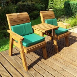 Charles Taylor Wooden Garden Twin Companion Set Gold with Green Cushions and Fitted Cover