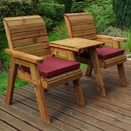 Charles Taylor Wooden Garden Twin Companion Set Gold with Burgundy Cushions and Fitted Cover