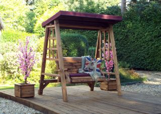 Charles Taylor Wooden Garden Dorset 2 Seat Swing with Burgundy Cushions