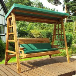 Charles Taylor Wooden Garden Dorset 3 Seat Swing with Green Cushions