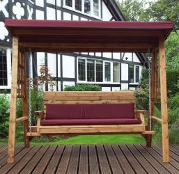 Charles Taylor Wooden Garden Dorset 3 Seat Swing with Burgundy Cushions