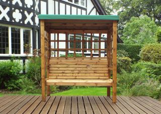 Charles Taylor Wooden Garden Bramham 3 Seat Arbour with Green Cushions