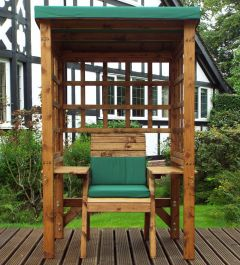 Charles Taylor Wooden Garden Wentworth Single Arbour with Green Cushions