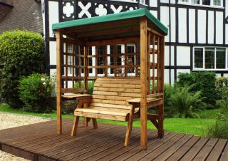 Charles Taylor Wooden Garden Wentworth 2 Seat Arbour with Green Cushions