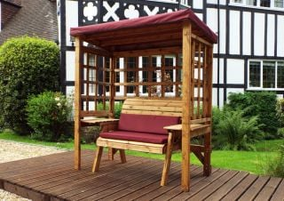 Charles Taylor Wooden Garden Wentworth 2 Seat Arbour with Burgundy Cushions