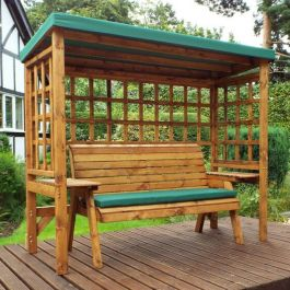 Charles Taylor Wooden Garden Wentworth 3 Seater Abour with Green Cushions