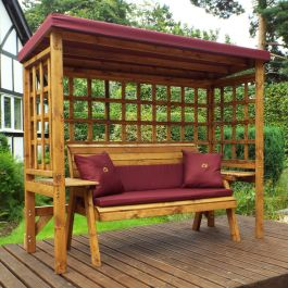 Charles Taylor Wooden Garden Wentworth 3 Seater Arbour with Burgundy Cushions