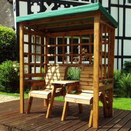 Charles Taylor Wooden Garden Henley Twin Seat Arbour with Green Cushions