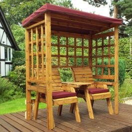 Charles Taylor Wooden Garden Henley Twin Seat Arbour with Burgundy Cushions