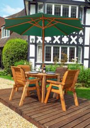 Charles Taylor Wooden Garden 4 Seater Round Table Dining Set with Green Cushions and Parasol