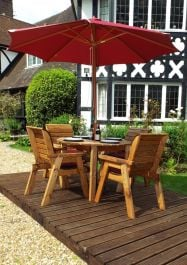 Charles Taylor Wooden Garden 4 Seater Round Table Dining Set with Burgundy Cushions and Parasol