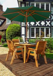 Charles Taylor Wooden Garden 4 Seater Rectangle Table Dining Set with Green Cushions and Parasol