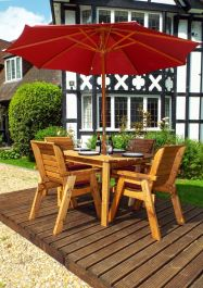 Charles Taylor Wooden Garden 4 Seater Rectangle Table Dining Set with Burgundy Cushions and Parasol