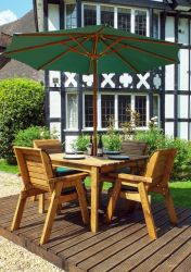Charles Taylor Wooden Garden 4 Seater Square Table Dining Set with Green Cushions and Parasol