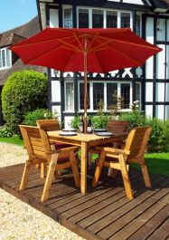 Charles Taylor Wooden Garden 4 Seater Square Table Dining Set with Burgundy Cushions and Parasol