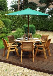 Charles Taylor Wooden Garden 6 Seater Round Table Dining Set with Green Cushions and Parasol