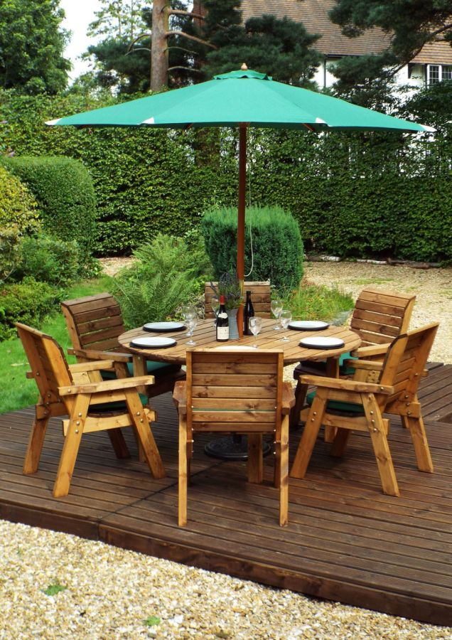 Charles Taylor Wooden Garden 6 Seater Round Table Dining ...