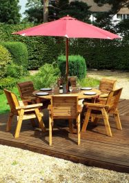 Charles Taylor Wooden Garden 6 Seater Round Table Dining Set with Burgundy Cushions and Parasol