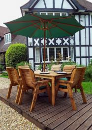 Charles Taylor Wooden Garden 6 Seater Rectangle Table Dining Set with Green Cushions and Parasol
