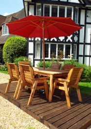 Charles Taylor Wooden Garden 6 Seater Rectangle Table Dining Set with Burgundy Cushions and Parasol