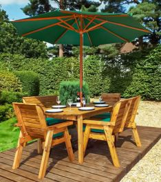 Charles Taylor Wooden Garden 6 Seater Rectangle Table Dining Bench Set with Green Cushions and Parasol
