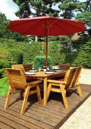 Charles Taylor Wooden Garden 6 Seater Rectangle Table Dining Bench Set with Burgundy Cushions and Parasol
