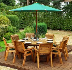 Charles Taylor Wooden Garden 8 Seater Round Table Dining Set with Green Cushions and Parasol