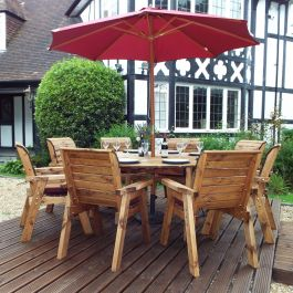 Charles Taylor Wooden Garden 8 Seater Round Table Dining Set with Burgundy Cushions and Parasol