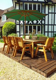 Charles Taylor Wooden Garden 8 Seater Rectangle Table Dining Set with Green Cushions and Parasol