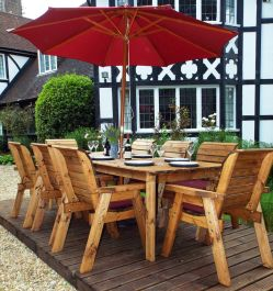 Charles Taylor Wooden Garden 8 Seater Rectangle Table Dining Set with Burgundy Cushions and Parasol