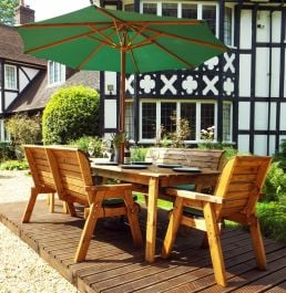 Charles Taylor Wooden Garden 8 Seater Rectangle Table Dining Bench Set with Green Cushions and Parasol