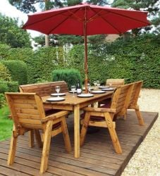 Charles Taylor Wooden Garden 8 Seater Rectangle Table Dining Bench Set with Burgundy Cushions and Parasol