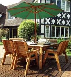 Charles Taylor Wooden Garden 8 Seater Square Table Dining Chair and Bench Set with Green Cushions and Parasol