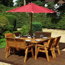 Charles Taylor Wooden Garden 8 Seater Square Table Dining Chair and Bench Set with Burgundy Cushions and Parasol