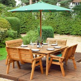 Charles Taylor Wooden Garden 8 Seater Table Dining Bench Set with Green Cushions and Parasol