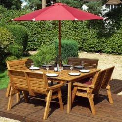 Charles Taylor Wooden Garden 8 Seater Square Table Dining Bench Set with Burgundy Cushions and Parasol