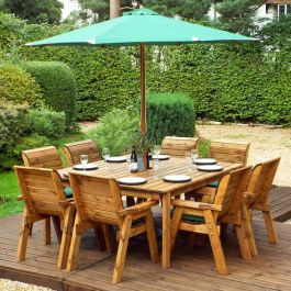 Charles Taylor Wooden Garden 8 Seater Square Table Dining Chair Set with Green Cushions and Parasol