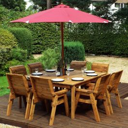Charles Taylor Wooden Garden 8 Seater Square Table Dining Chair Set with Burgundy Cushions and Parasol