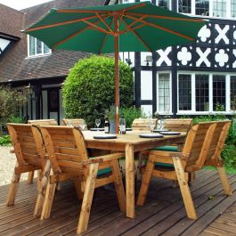 Charles Taylor Wooden Garden 8 Seater Square Table Dining Chair Set and Bench with Green Cushions and Parasol