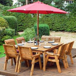 Charles Taylor Wooden Garden 8 Seater Square Table Dining Chair Set and Bench with Burgundy Cushions and Parasol