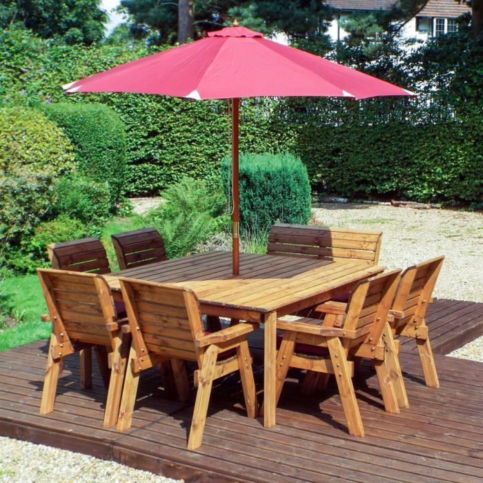 Charles Taylor Wooden Garden 8 Seater Square Table Dining Chair Set And Bench With Burgundy