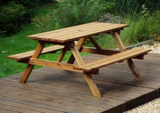 Charles Taylor Wooden Garden 6 Seater Picnic Table Gold