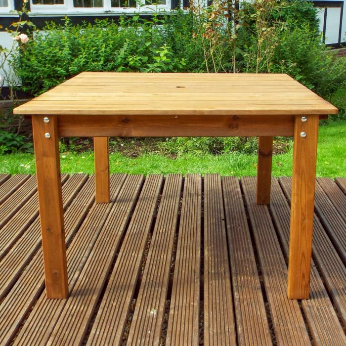 Charles Taylor Wooden Garden 1.2m Square Table Gold