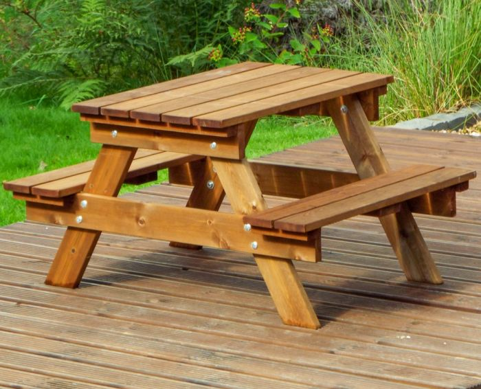 Charles Taylor Wooden Garden Kids Picnic Table Gold