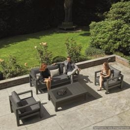 Norfolk Leisure LIFE Aluminium Delta 5 Seat Lounge Set with Firepit In Lava
