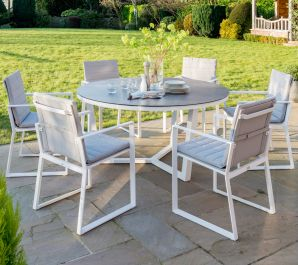 Norfolk Leisure LIFE Aluminium 6 Seat Round Dining Set In White