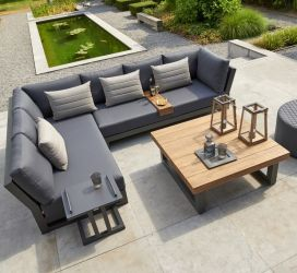Norfolk Leisure LIFE Aluminium/Teak Nevada 4 Seat Small Corner Set In Lava/Carbon