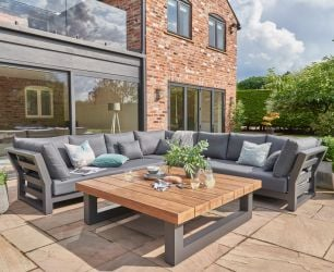 Norfolk Leisure LIFE Aluminium/Teak Nevada 6 Seat Large Corner Set In Lava/Carbon