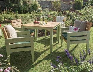 Norfolk Leisure Florenity Eucalyptus Verdi 4 Seat Dining Set In Natural/Green