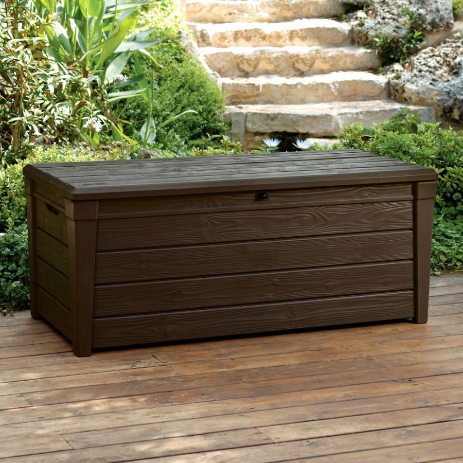 Norfolk Leisure Saxon Resin Wood Look XL Storage Box In Dark Brown